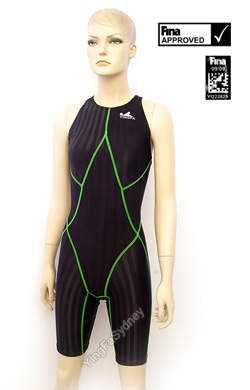 Yingfa 'Escolar' Racing Swimsuit - Black with Green Stitching  - Female Racing  - 937-2 - FINA Approved